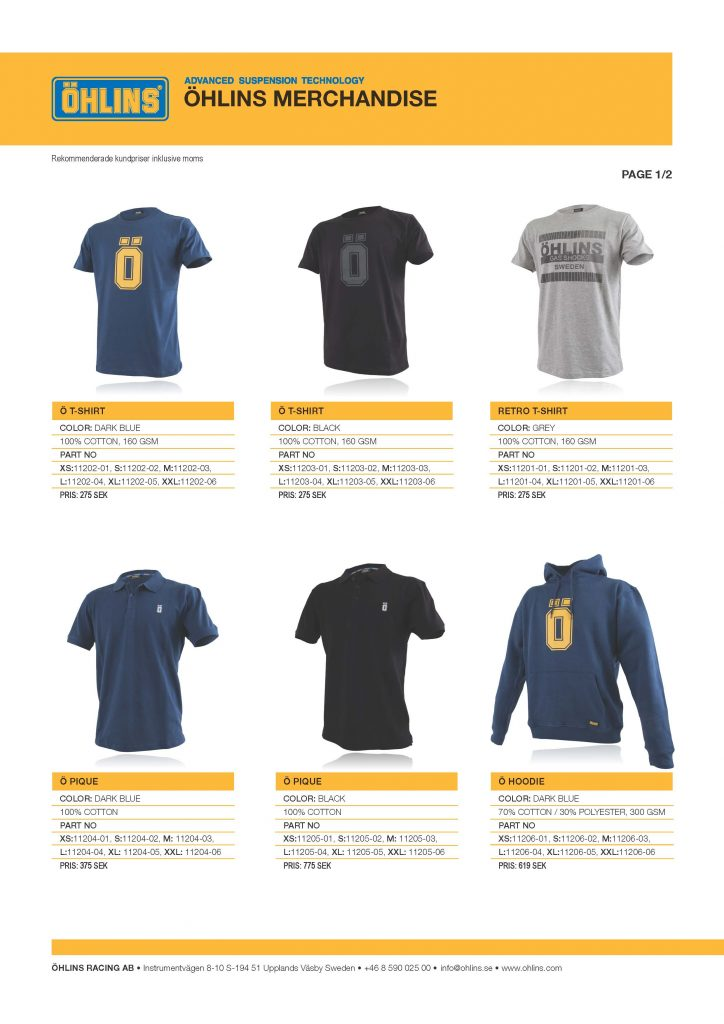 Öhlins Merch kundpriser 2016-08-25 1