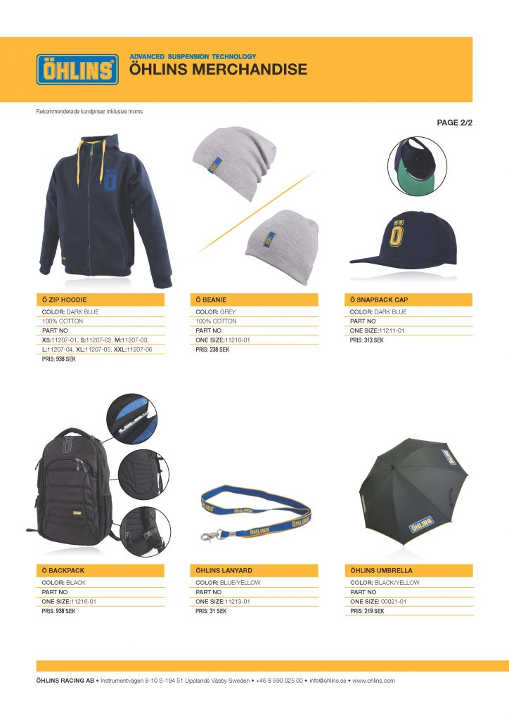 Öhlins Merch kundpriser 2016-08-25 2